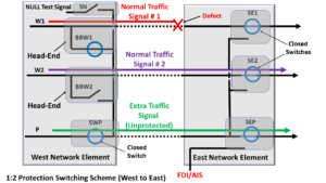 1:2 Protection Switching Scheme - Defect in Working Transport entity # 1