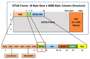 OTUk Frame Format with the MFAS Byte-field Highlighted - dLOM Defect