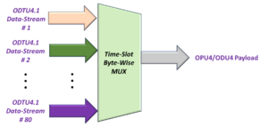 Byte Wise Multiplexing 80 ODTU4.1 Signals into the OPU4 Payload